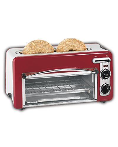 Hamilton Beach Oven with 2-Slice Toaster Combo, Ideal for Pizza, Chicken Nuggets, Fries and More (22703H), Red