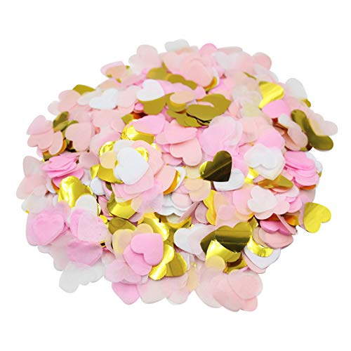 Mybbshower Pink Gold Tissue Paper Heart Confetti for Wedding Reception Baby Bridal Shower Table Scatter 1 Inch 8000 Plus