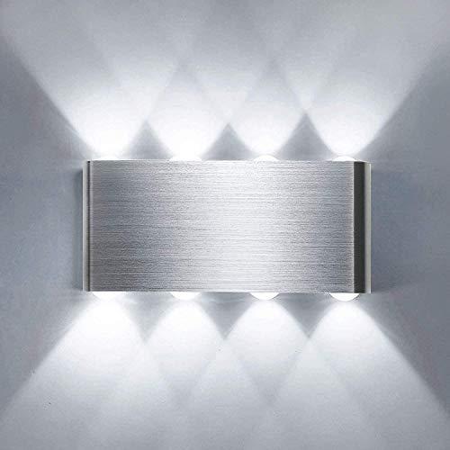 Lightess Apliques de Pared LED 8W Lámpara de Pared Interior Luz Moderna Luz de Aluminio Iluminación para Escaleras Pasillo Corredor Dormitorio (blanco frío)