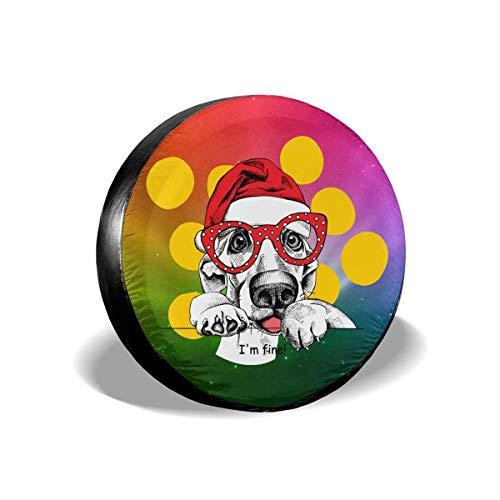 Fendy-Shop Repuesto Cubierta de neumático 14'-17' Perro de Navidad con Gafas Cubierta Ligera para Autos de Repuesto