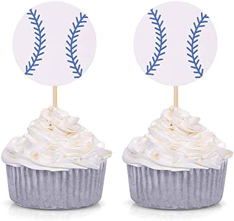 Set of 24 Baseball Cupcake Toppers Sports Fan Theme Party Birthday Party Wedding Party Decorations product image
