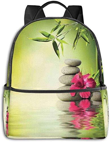 Schultasche Double Black Rucksäcke, Steine und Bambusblätter auf dem Wasser Pool Meditation Freshn entspannende Thema lässig Wandern Travel Daypack 12 '5' 14,5 'LWH