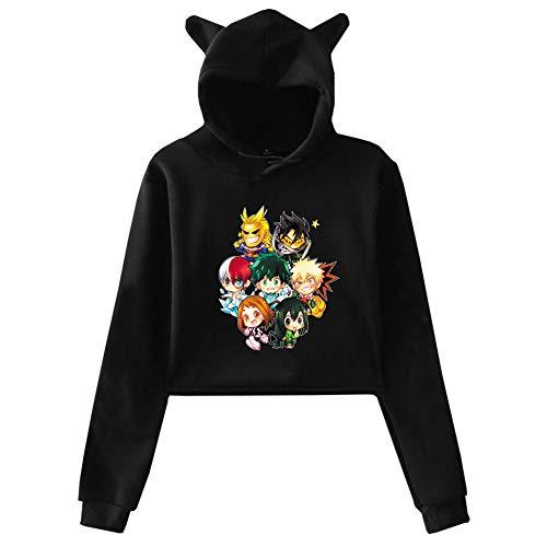 Peoria My Hero Academia Sweatshirt, Cat Ear Style Anime Hooded Hoodie for Girls and Women(S Style 19)