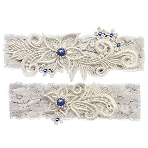 GARGALA Wedding Garters for Bride Bridal Lace Garter Set with Blue Rhainstone Crystal (S)