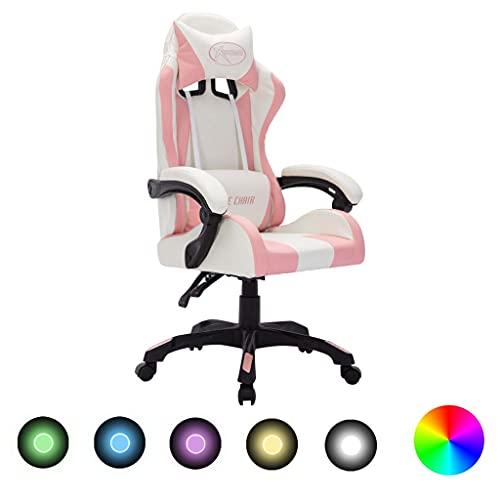vidaXL Silla Gaming con Luces LED RGB Giratoria Asiento Sillón Escritorio Videojuegos Oficina Despacho Ordenador Cuero...