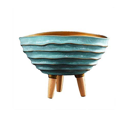 liushop Vasi di Fiori Nordic Vintage Ceramica Vaso di Fiori, Grande Vaso di Fiori sul Balcone di The Living Room, Decorazione in Vaso, Vaso da Fiori con Tre basamenti di Legno (Verde) Vasi per Piante