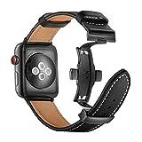 Arkrdiif コンパチブルApple Watch バンド38mm 40mm 42mm 44mm 皮革腕時計バンド 交換ベルト Dバックル レザーベルト バンド セット Apple Watch SE iWatchシリーズ6 シリーズ5 / 4 シリーズ3 / 2 / 1 (黑色, 42mm/44mm)