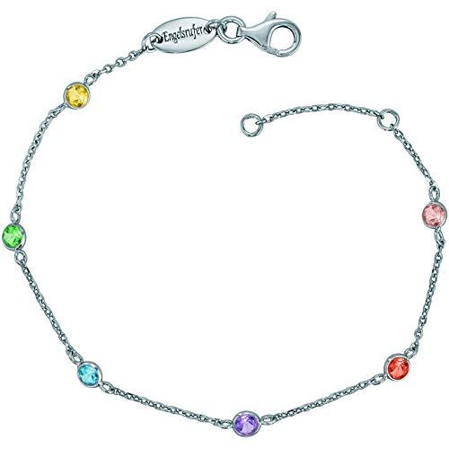 Engelsrufer® inkl. Giveaway - farbige Damen Armbänder Moonlight, Multicolor mit Zirkonia Edelsteinen aus 925 Sterlingsilber, funkelndes glitzer Silber Armband vergoldet