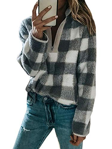 Minetom Plüschmantel Damen Lose Sweatshirt Mit Kapuze Mantel Langärmelige Einfarbige Strickjacke Jacke Mit Taschen Warmen Winter B Grau DE 42