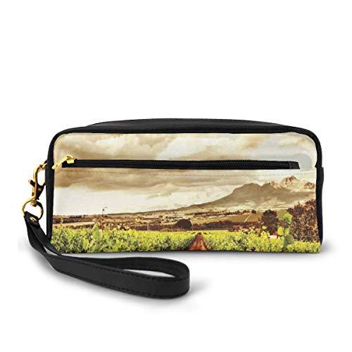 Pencil Case Pen Bag Pouch Stationary,Grape Valley Clouds Over Vineyard Fruit Plantation Digital Print,Small Makeup Bag Coin Purse