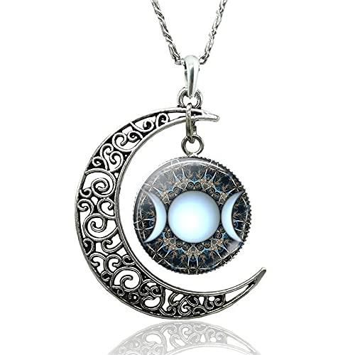 Minekkyes Collar de Diosa de Triple Luna encantos Collar de Media Luna Colgante joyería de Media Luna Accesorios de Moda Regalos de Mujer 47cm
