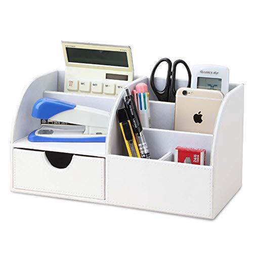 Nyyi Multifuncional Organizador de Escritorio/Portalápices de piel/Sistema de Escritorio/Organizador de Oficina/Organizador de papelería(Blanco)