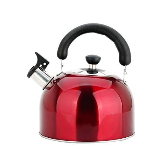 lxm Rojo de la categoría alimenticia del Acero Inoxidable de la Caldera de té Superior de la Estufa Silbato Tetera con Mango ergonómico y Recto tobera de Colada