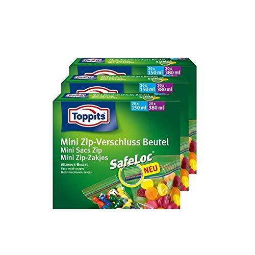 ToppitsMini Zip-Verschluss Beutel 20x150ml und 20x380ml mit SafeLoc (3er Pack)