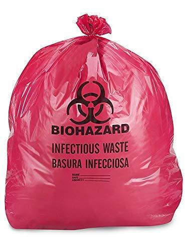 DIAGNOSTICS DIRECT, INC. IW2424 Biohazard Waste Disposable Bag, 7-10 gallon Capacity, 24 L x 24 W, 1.3 mil, Medium, Red, Pack of 100
