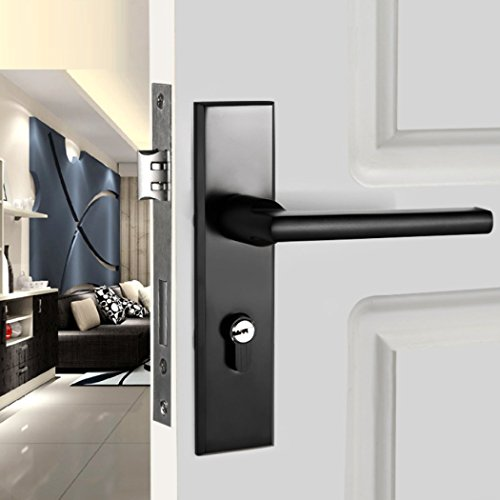 Porta interna europea a battente Meccanica Serrature hardware Commerciale durevole e residenziale in lega di alluminio Hardware porta scorrevole nera
