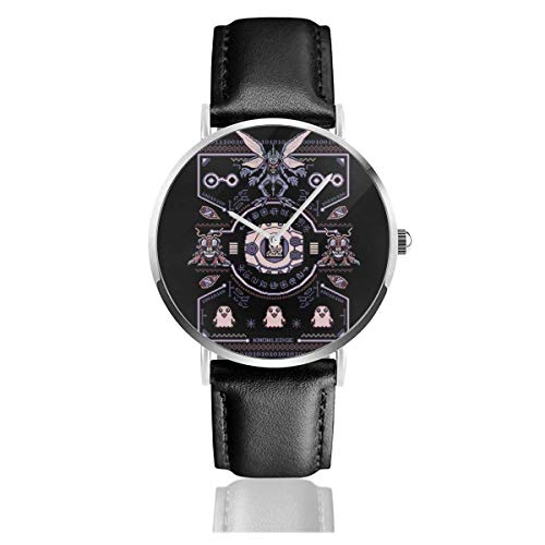 Christmas Dig-imon Tentomon Digivolve Knowledge 8 Bit Knit Pattern Watches Quartz Leather Watch with Black Leather Band
