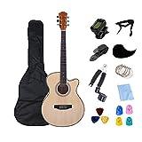 KEPOHK Guitarra eléctrica de cuerpo delgado Guitarra acústica de 6 cuerdas de 40 pulgadas Guitarra de cuerdas de acero popular de tamaño 4/4 con kits para principiantes Madera de 40 pulgadas