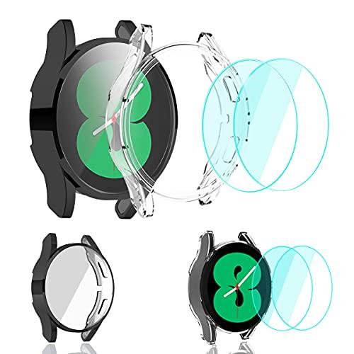 SunStory [2+2 paquetes] compatible con Samsung Galaxy Watch 4 1.732in funda de 1.732in con protector de pantalla de vidrio templado [2 paquetes], carcasa de TPU PC de 1.732in (negro, 1.732in)