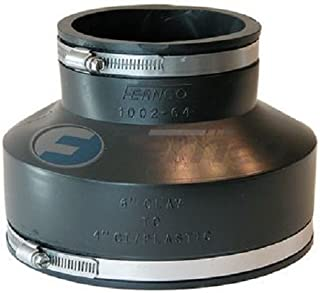 Fernco Inc. GIDDS-301131 P1002-64 Cast Iron Or Plastic Coupling, 6-Inch Clay to 4-Inch, Black