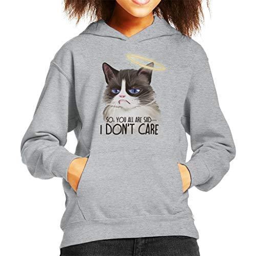 Cloud City 7 I Dont Care Cat Halo Kid's Hooded Sweatshirt