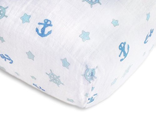 SwaddleDesigns Cotton Muslin Fitted Crib Sheet/Toddler Sheet, Pastel Blue Nautical Ahoy!