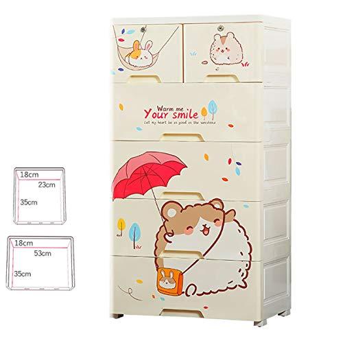Drawers Fach-Speicher-Schrank, verdickte Kunststoff Kinder Schrank Baby-Snack Spielzeug-Speicher-Kabinett mit Verschluss-Klassifizierung Speicherschrank mit Pulley ctg (Color : B)