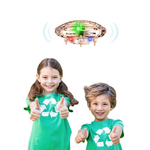 Powerextra UFO Mini Drohne mit infrarot induktions für Kinder Fliegendes Spielzeug mit LED Licht Minidrohne Geschenke für Jungen & Mädchen UFO Flying Ball