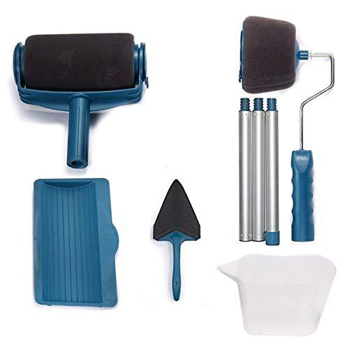 Paint Roller Kit de 6 outils de peinture, avec réservoir intégré, système anti-gouttes et anti-salissure, facile à utiliser