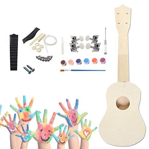 earlyad Kit De Ukelele DIY Guitarra Pequeña De Madera para Pintar con Herramientas De Instalación, Incluida La Herramienta De Pintura Mochila para Niños Estudiantes Principiantes Best Service