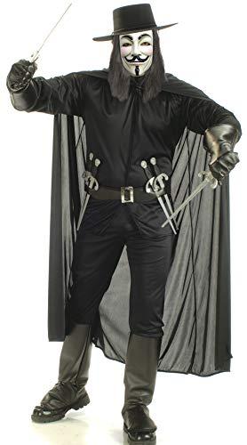 V For Vendetta Complete Costume, Black, X-Large