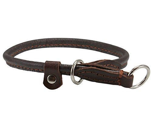 Round Genuine Rolled Leather Choke Dog Collar Brown (20' Long)