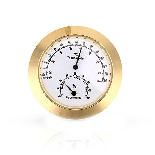 livecity Hygrometer für gutia rund Analog Luftfeuchtigkeit Temperatur Meter Gauge Violine Gitarre tragbar Thermometer für Musikinstrumente-2555°C, Legierung, goldfarben, Mini