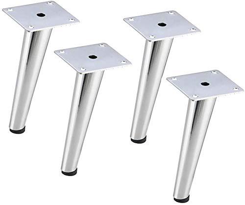 Patas de los muebles, oblicuas cónicas patas de la mesa la cama de TV, hierro forjado patas de la mesa de café, negro/plata, 15 / 20cm (Color : Blanco, Size : 20cm)
