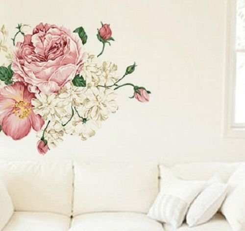 floral wall mural amazon co ukshabby chic removable wall sticker vintage bedroom lounge floral rose mural