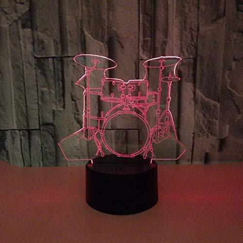 Preisvergleich Produktbild Qtydmdh Lampe Der Illusions-3D Weihnachtsgeschenk-Nachtlicht,  7 Ändernde Farben Noten-Nachtlicht,  Usb-Kabel,  Geburtstags-Weihnachtsgeschenk,  Kindergeschenk-Schlagzeug