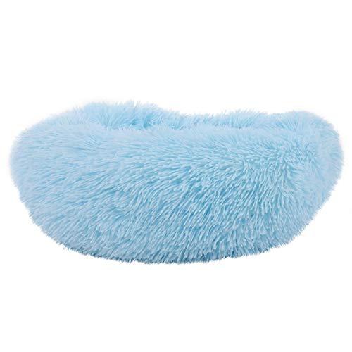 Jeanoko Cama para mascotas de tela de felpa azul para gato perro dormir sentado