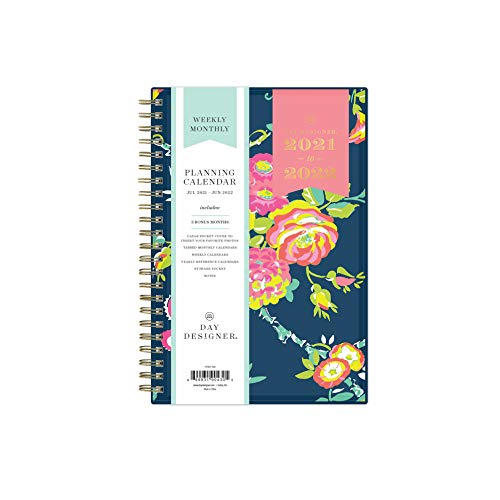 """Day Designer for Blue Sky 2021-2022 Academic Year Weekly & Monthly Planner, 5"""" x 8"""", Flexible Cover, Wirebound, Peyton Navy (107927-A22)"""