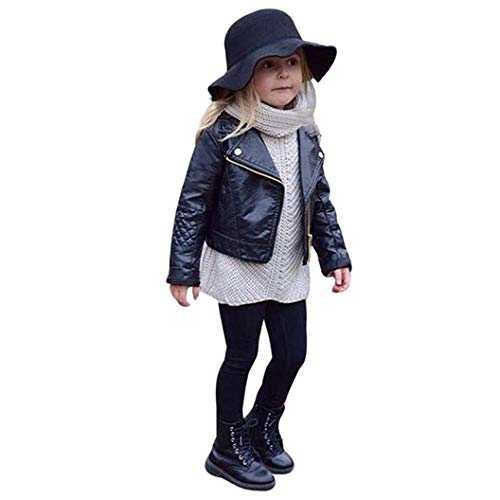 danni sheng Fashion Kids Faux Leather Jackets, Toddler Boys Girls Motorcycle Coat Winter Outwear Clothes (Black, 9-12 Months)