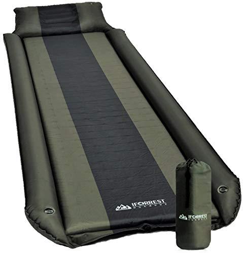 IFORREST Isomatte mit Armlehne & Kissen – Überrollschutz – Ultra-bequeme Campingmatratze – selbstaufblasendes Luftbett (L/XL)