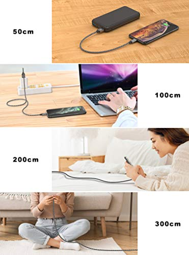 iPhone Ladekabel, GIANAC [4Stück 0.3M 1M 2M 3M] Lightning Kabel Nylon iPhone Kable Schnellladung USB Ladekabel für iPhone 11 pro, 11, X, XS, XS Max, XR, X, 8, 8 Plus, 7, 7 Plus, 6, 6 Plus, iPad