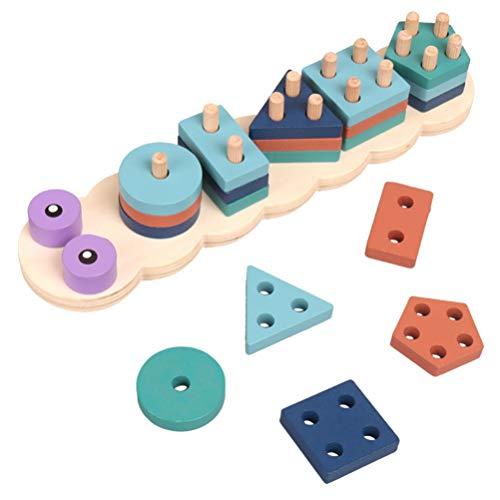 NUOBESTY Apiladores de Madera Tablero de Clasificación Apilador de Forma Geométrica Oruga Montessori Bloques de Construcción Rompecabezas Desarrollo de Educación Temprana Regalo de Juguete Ensamblado