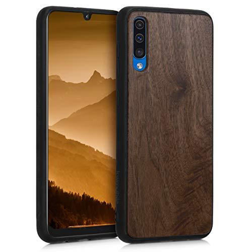 kwmobile Bumper Schutzhülle kompatibel mit Samsung Galaxy A50 - Holz Hülle Handy Case Cover Dunkelbraun