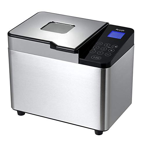2.2 Lb Bread Maker Stainless Steel Automatic Custom Program Multifunctional Bread Machine with 21 Programs, 3 Crust Colors, 15 Hours Delay Timer, 1 Hour Keep Warm (550W)