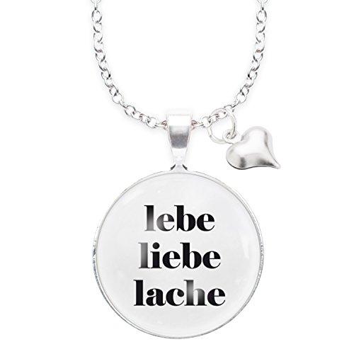 Spruchketten BY LIEBLICHKEITEN Nickelfreie Kette 80 cm mit Anhänger Spruch in 2,5cm Großer Glaslinse: Lebe - Liebe - Lache