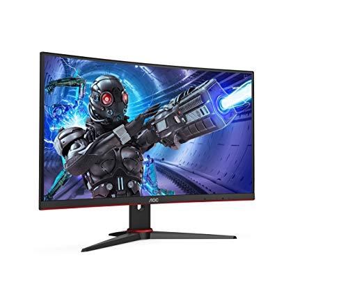 """AOC C27G2ZE/BK - Monitor curvo gaming de 27"""" FHD (1920x1080, 1500R, 240Hz, 0.5 ms, VA, FreeSync Premium, 300 cd/m, VESA, HDMI 2x2.0, Displayport 1x1.2) Negro/rojo"""