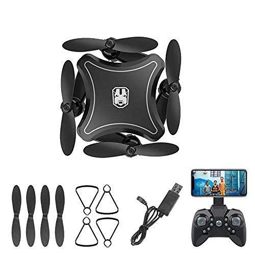 DCLINA Mini dron Plegable con cámara 4K HD, Video en Vivo WiFi FPV, Control detección Gravedad, Control Voz, Luces Crucero nocturnas, 1 batería Repuesto incluida