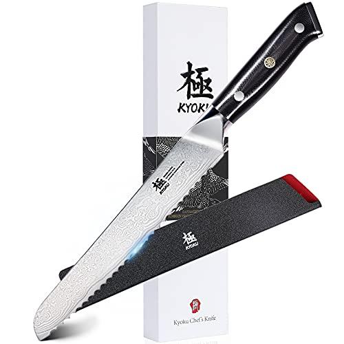 KYOKU Serrated Bread Knife - 8' - Shogun Series - Japanese VG10 Steel Core Damascus Blade - with Sheath & Case