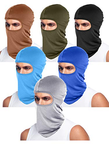 6 Pieces Unisex Balaclava Full Face Mask Winter Windproof Ski Mask (Black, Blue, Army Green, Light Grey, Sky Blue, Brown)