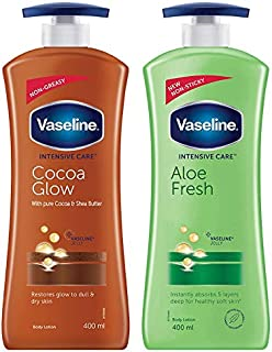 Vaseline Intensive Care Cocoa Glow Dry Skin Body Lotion, 400 ml And Intensive Care Aloe Fresh Body Lotion, 400 ml